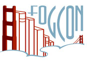 FOGcon logo: the Golden Gate Bridge as a bookshelf, in fog
