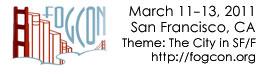 The FOGcon logo of a bridge of books, with the information March 11-13, 2011, San Francisco, CA, http://fogcon.org